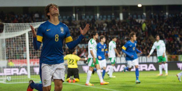 MALMÖ, SWEDEN - OCTOBER 10: Kaká of Brazil celebrates a goal during a FIFA friendly match between Brazil...