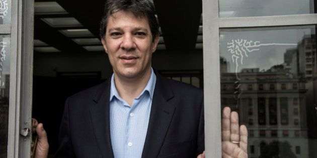 Fernando Haddad, mayor of Sao Paulo, stands for a photograph following an interview at City Hall in Sao...