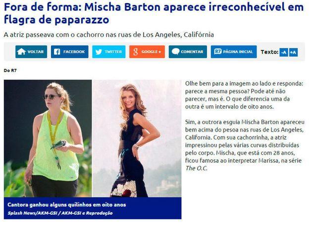 Estes comentários sobre a atriz Mischa Barton é que são realmente um absurdo