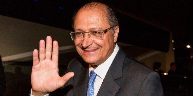 SAO PAULO, BRAZIL - DECEMBER 03: Governor Geraldo Alckimin salutes during the award ceremony of the Brazilian...