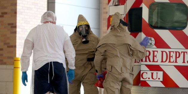 DALLAS, TX - OCTOBER 08: A possible Ebola patient is brought to the Texas Health Presbyterian Hospital...