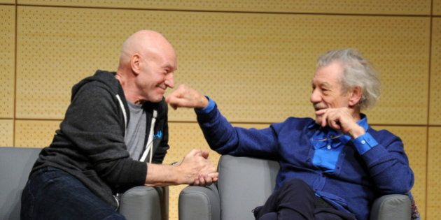 NEW YORK, NY - JANUARY 28: Patrick Stewart and Ian McKellen speak at John L. Tishman Auditorium at University...