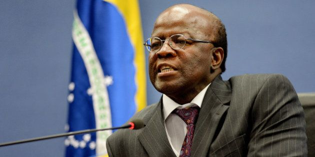Brazilian Supreme Court President Joaquim Barbosa speaks during a press conference at the National Justice...