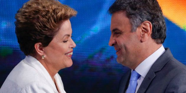 Brazil's President Dilma Rousseff, presidential candidate for re-election of the Workers Party, PT, left,...