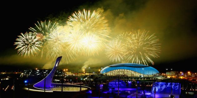 SOCHI, RUSSIA - FEBRUARY 23: Fireworks explode over Olympic Park during the 2014 Sochi Winter Olympics...