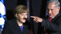 Heil Merkel: premiê de Israel faz bigode acidental em chanceler