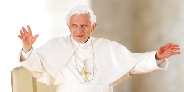 VATICAN CITY, VATICAN - OCTOBER 17: Pope Benedict XVI waves to the faithful gathered in St. Peter's square...