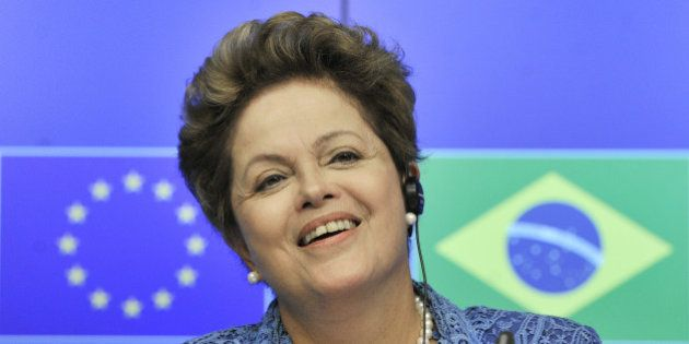 President of Brazil Dilma Rousseff gives a press conference on February 24, 2014 following the 7th Eu-Brazil...