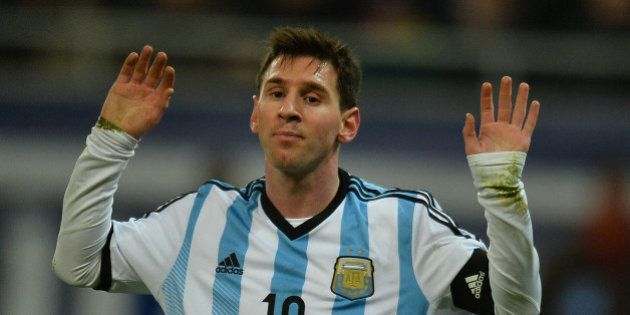 Lionel Messi of Argentina reacts during the International friendly football match Romania vs Argentina...