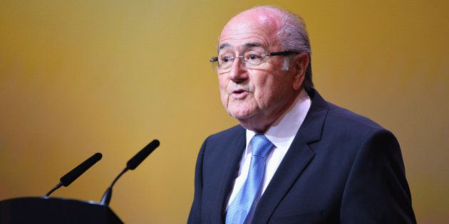 ZURICH, SWITZERLAND - JANUARY 13: FIFA President Joseph S. Blatter talks on stage during the FIFA Ballon...