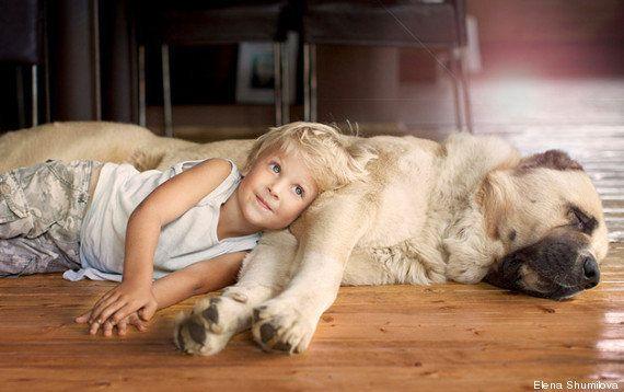 Mães fotografam filhos ao lado de seus cães