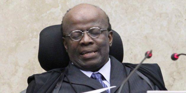 BRASILIA, BRAZIL - SEPTEMBER 05: (BRAZIL OUT) President of the Supreme Court Joaquim Barbosa chairs a...