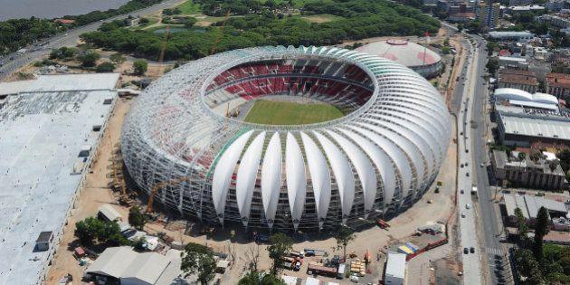PORTO ALEGRE, BRAZIL - DECEMBER 15: An aerial view of the Beira Rio stadium venue for the FIFA 2014 World...
