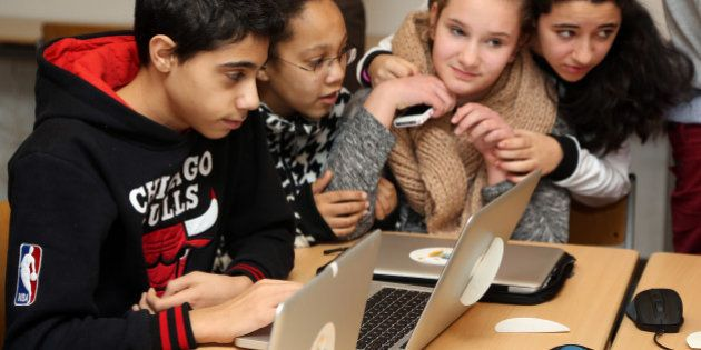 BERLIN, GERMANY - FEBRUARY 11: Students use Apple Mac computers at the Friedensburg Oberschule (Friedensburg...