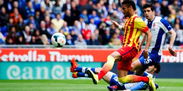 BARCELONA, SPAIN - MARCH 29: Neymar Santos Jr of FC Barcelona kicks the ball during the La Liga match...