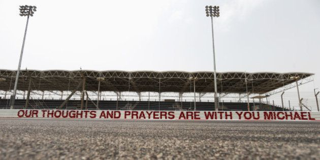 SAKHIR, BAHRAIN - APRIL 03: A message of support for former F1 World Champion Michael Schumacher is seen...