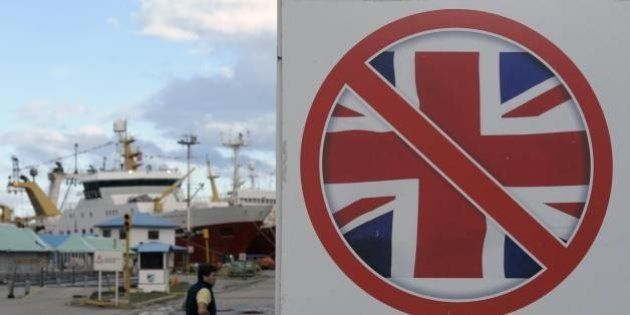 A sign of a banned Union Jack flag is seen at Ushuaia harbour on the eve of the 30th anniversary of the...
