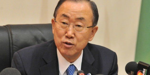 UN chief Ban Ki-moon gives a speech at an inter-ministerial meeting with to discuss coordination and...