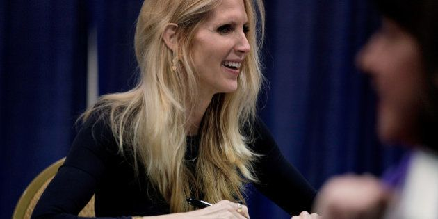 NATIONAL HARBOR, MD - MARCH 08: Conservative pundit and author Ann Coulter signs books during the 41st...
