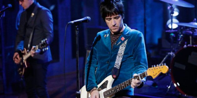 LATE NIGHT WITH JIMMY FALLON -- Episode 930 -- Pictured: Musical guest Johnny Marr performs on Friday,...