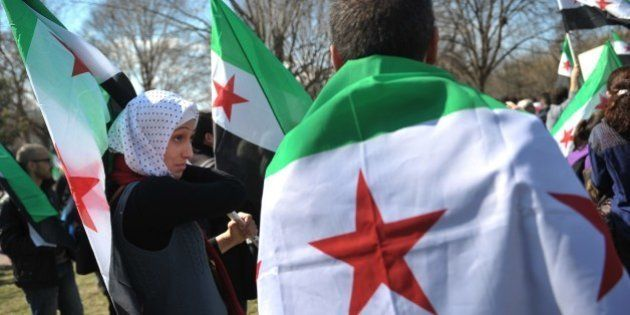 Demonstrators holding the Syrian opposition flag take part in a rally against the Syrian government on...