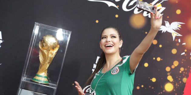 MIAMI, FL - APRIL 16: Ana Patricia Gonzalez poses during FIFA World Cup Trophy Tour on the set of Despierta...