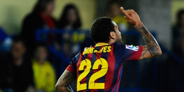VILLARREAL, SPAIN - APRIL 27: Dani Alves of FC Barcelona celebrates after scoring his team's first goal...