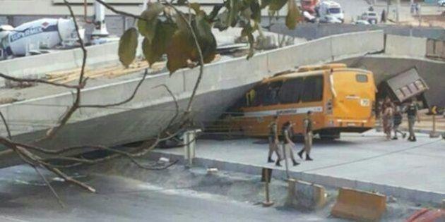 Viaduto em construção desaba em Belo Horizonte e faz