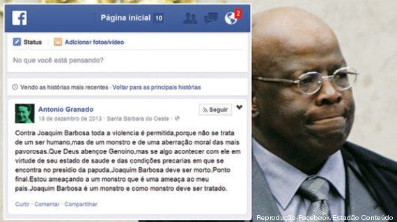 Polícia Federal investiga mensagens com ameaças de morte a Joaquim Barbosa no