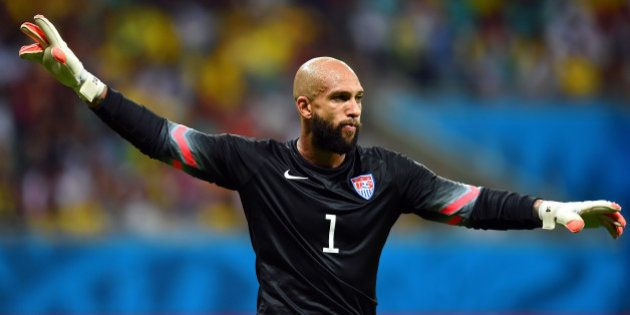 SALVADOR, BRAZIL - JULY 01: Tim Howard of the United States gestures during the 2014 FIFA World Cup Brazil...