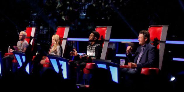 THE VOICE -- 'Live Show' Episode 620B -- Pictured: (l-r) Adam Levine, Shakira, Usher, Blake Shelton --...