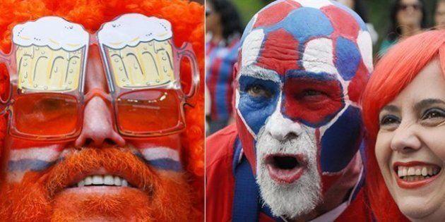 Azul, branco e vermelho: cores semelhantes embaralham quem é torcedor da Holanda ou Costa