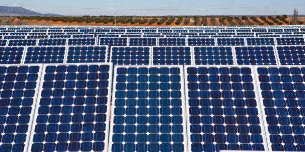 Solar panels stand at a solar power plant operated by Ingeneieria y Electricidad Rodriguez SL in Villanueva...