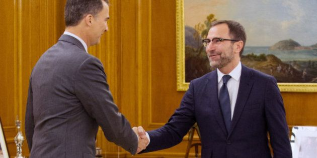 MADRID, SPAIN - FEBRUARY 10: Prince Felipe of Spain (L) meets James Costos, United States ambassador...