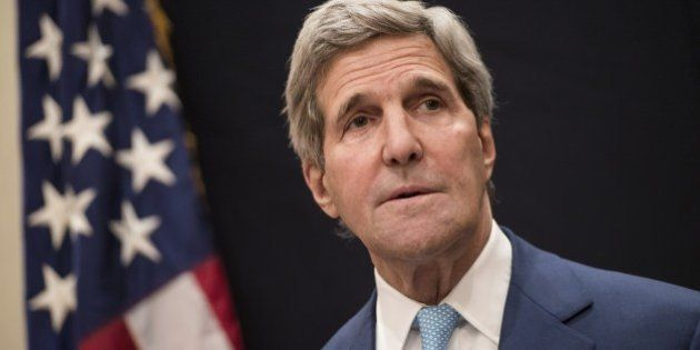 US Secretary of State John Kerry attends a joint press conference with Egypt's Foreign Minister Sameh...