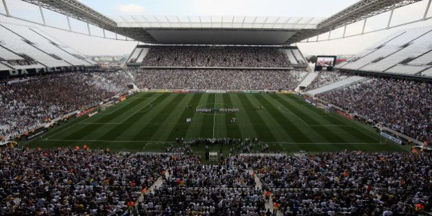 SAO PAULO, BRAZIL - MAY 18: A general view of the match between Corinthians and Figueirense for the Brazilian...