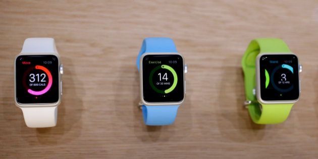 The Apple Watch is displayed on Tuesday, Sept. 9, 2014, in Cupertino, Calif. (AP Photo/Marcio Jose