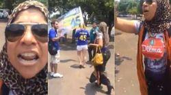 ASSISTA: Transtornada, militante pró-Dilma xinga e ataca estudantes em campanha de