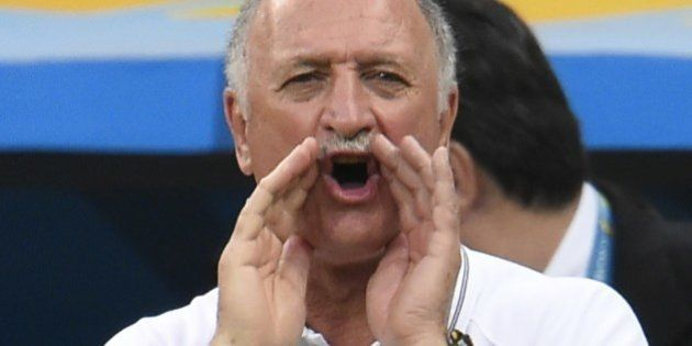Brazil's coach Luiz Felipe Scolari reacts during the third place play-off football match between Brazil...
