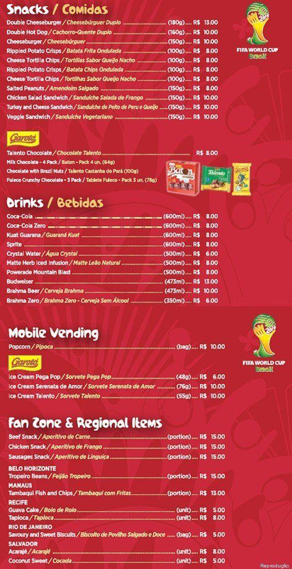 Copa do Mundo: o valor da comida dentro dos estádios também é