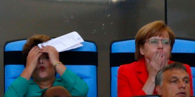 Dilma torce com Angela Merkel mas enfrenta vaias para entregar taça ao capitão da Alemanha