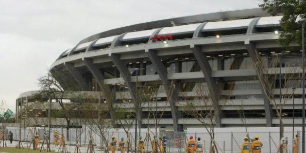 RIO DE JANEIRO, BRAZIL - JUNE 03: (BRAZIL OUT) Works in Maracanã Stadium on June 03, 2013 in Rio de...