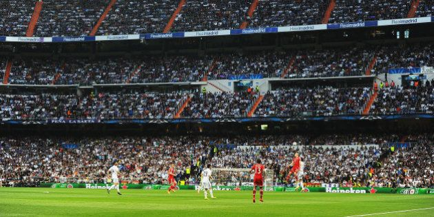 MADRID, SPAIN - APRIL 23: A general view during the UEFA Champions League semi-final first leg match...