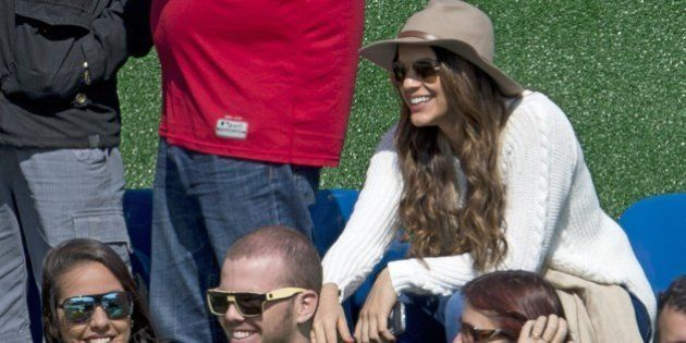 Brazilian national football team player Neymar's girlfriend, Brazilian actress Bruna Marquezine (R-top),...