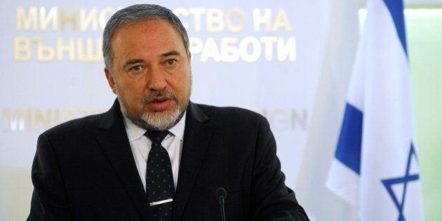 Israeli Foreign Minister Avigdor Lieberman speaks during a joint press conference with his Bulgarian...