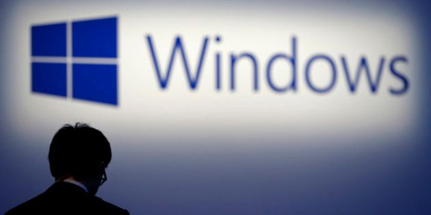 The logo for Microsoft Corp.'s Windows operating system is displayed at a launch event for the Windows...