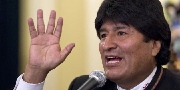 Bolivian President Evo Morales gives a press conference in La Paz on October 13, 2014 a day after being...