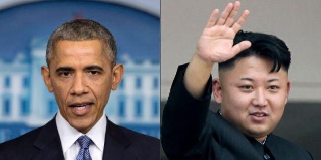 This photo combination shows U.S. President Barack Obama, left, and North Korean leader Kim Jong Un....