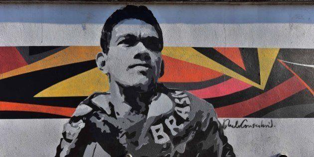 A graffiti depicting Brazilian football star Garrinhcha, painted by Brazilian street artist Paulo Consentino...