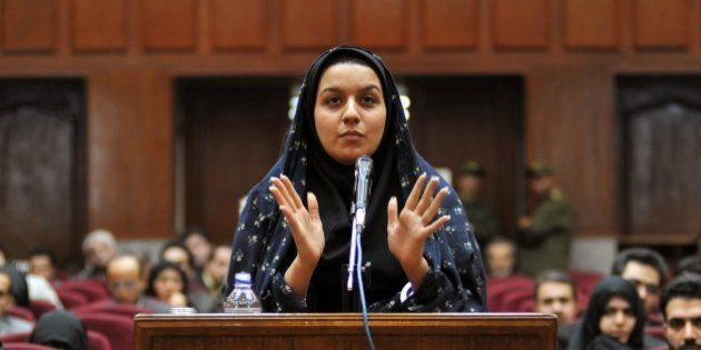 A picture taken on December 15, 2008 at a court in Tehran shows Iranian Reyhaneh Jabbari speaking to...